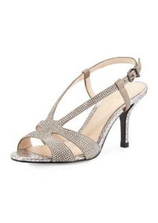 Pelle Moda Gaia 2 Rhinestone Metallic Sandal, Pewter
