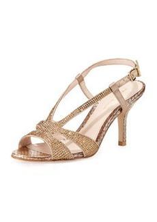 Pelle Moda Gaia 2 Rhinestone Metallic Sandal, Platinum Gold