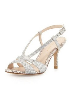 Pelle Moda Gaia 2 Rhinestone Metallic Sandal, Silver