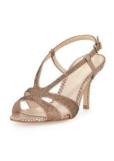Pelle Moda Gaia2 Rhinestone Metallic Sandal, Rose Taupe