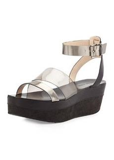 Pelle Moda Hadi Mixed-Media Platform Sandal, Pewter