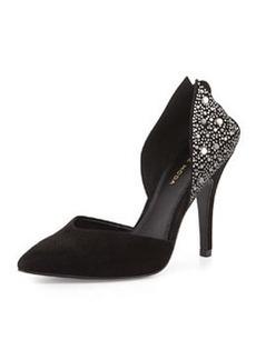 Pelle Moda Kent Cutout-Heel Suede Pump, Black