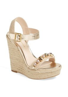 Pelle Moda 'Oates' Crystal Embellished Espadrille Wedge Sandal (Women)