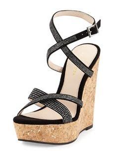 Pelle Moda Odin Rhinestone Wedge Sandal, Black