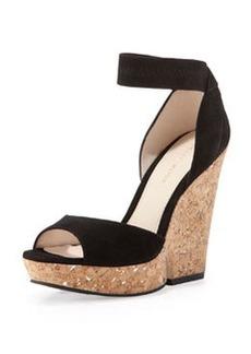Pelle Moda Una Cork Wedge Sandal, Black