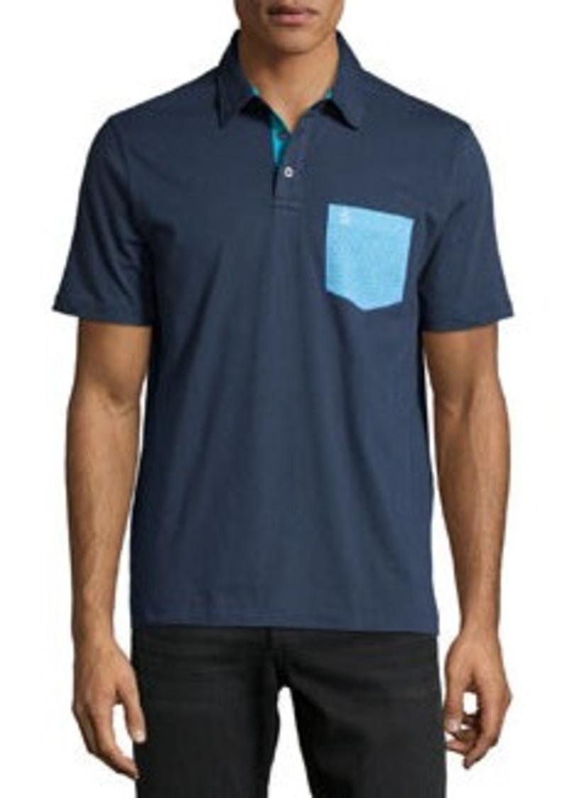 Penguin micro geometric print pocket polo shirt dress blues for Shirt printing places near me