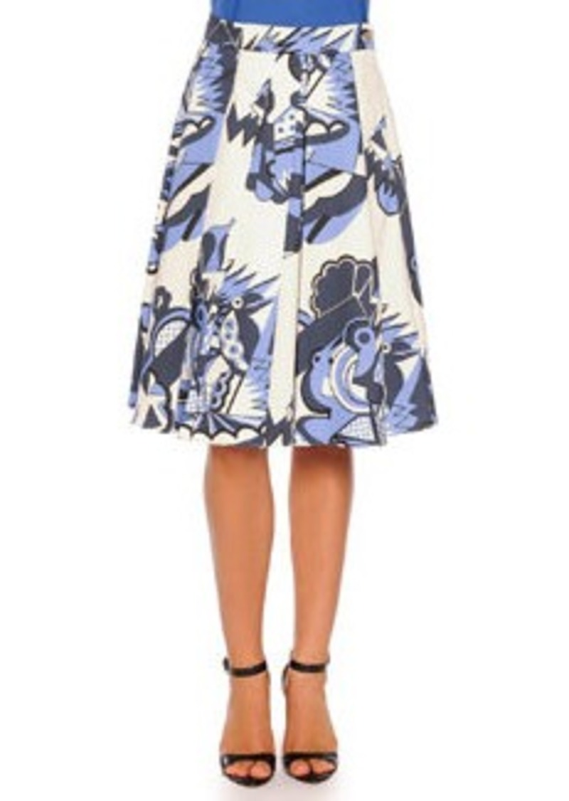 piazza sempione depero print pleated a line skirt blue
