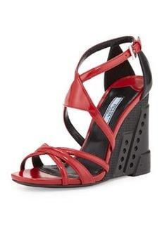 Bi-Color Crisscross Molded Wedge Sandal, Red/Black (Scarlatto/Nero)   Bi-Color Crisscross Molded Wedge Sandal, Red/Black (Scarlatto/Nero)
