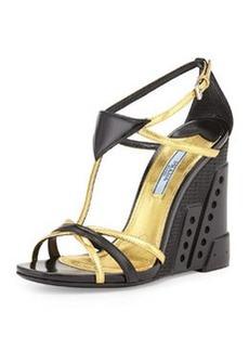 Bi-Color Crisscross T-Strap Molded Wedge, Black/Gold (Nero/Oro)   Bi-Color Crisscross T-Strap Molded Wedge, Black/Gold (Nero/Oro)
