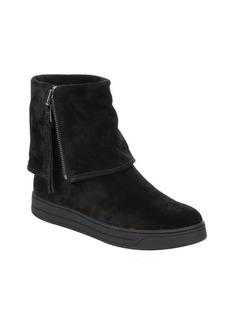 black suede fold over Prada Sport platform boots