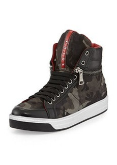 Camo-Print Nylon Zip-Side Sneaker   Camo-Print Nylon Zip-Side Sneaker