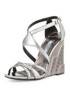 Crisscross Molded Wedge Sandal, Chrome (Cromo)   Crisscross Molded Wedge Sandal, Chrome (Cromo)
