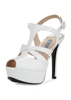 Crisscross Strappy Patent Sandal, White   Crisscross Strappy Patent Sandal, White