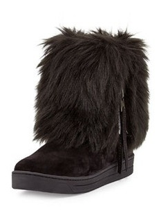 Faux-Furry Fold-Over Ankle Boot, Nero   Faux-Furry Fold-Over Ankle Boot, Nero