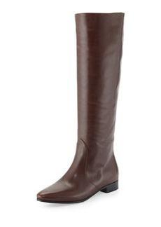 Flat Almond-Toe Knee Boot, Grafite   Flat Almond-Toe Knee Boot, Grafite