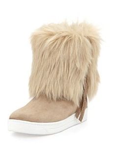 Furry Fold-Over Ankle Boot, Deserto   Furry Fold-Over Ankle Boot, Deserto