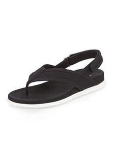Gabardine Slingback Thong Sandal, Nero   Gabardine Slingback Thong Sandal, Nero