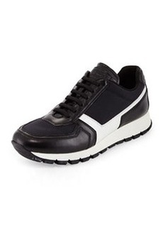 Leather & Nylon Trainer, Black   Leather & Nylon Trainer, Black