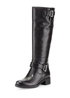 Leather Moto Knee Boot   Leather Moto Knee Boot