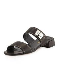 Leather Turn-Lock Slide Sandal, Nero   Leather Turn-Lock Slide Sandal, Nero