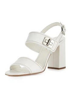 Leather Turn-Lock Slingback Sandal, Bianco   Leather Turn-Lock Slingback Sandal, Bianco