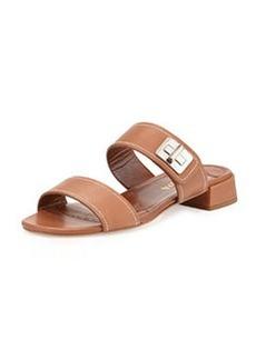 Leather Turnlock Slide Sandal, Brandy   Leather Turnlock Slide Sandal, Brandy