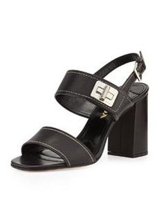 Leather Turnlock Slingback Sandal, Nero   Leather Turnlock Slingback Sandal, Nero