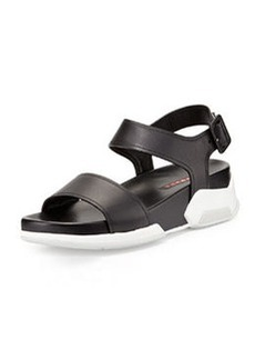 Leather Upper Rubber Bottom Sandal, Nero/Bianco   Leather Upper Rubber Bottom Sandal, Nero/Bianco