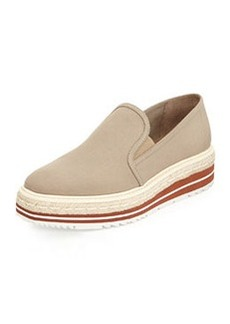 Prada Linen Espadrille Slip-On Loafer, Khaki