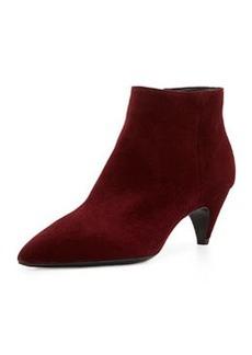 Mid-Heel Suede Ankle Bootie, Dark Red   Mid-Heel Suede Ankle Bootie, Dark Red