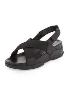 Nylon Crisscross Slingback Sandal, Black   Nylon Crisscross Slingback Sandal, Black