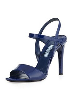 Patent Ankle-Strap Sandal, Navy   Patent Ankle-Strap Sandal, Navy
