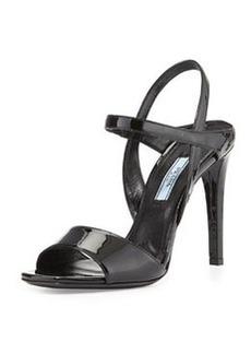 Patent Ankle-Strap Sandal, Nero   Patent Ankle-Strap Sandal, Nero