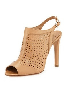 Perforated Leather Slingback Pump, Naturale   Perforated Leather Slingback Pump, Naturale
