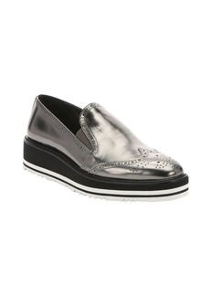 Prada anthracite metallic leather slip-on wingtip creepers