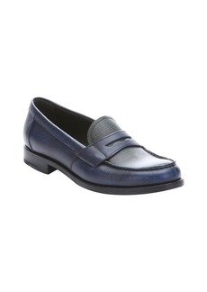 Prada baltic and emerald saffiano leather penny loafers