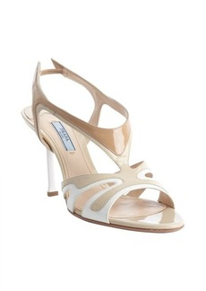 Prada beige patent leather open toe sandals