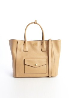 Prada beige saffiano leather front pocket convertible tote