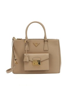 Prada beige saffiano leather patch pocket convertible tote