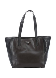 Prada black and brown leather tote bag