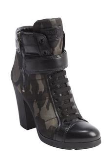 Prada black and camo leather and nylon heeled combat boots