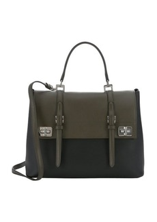 Prada black and military green calfskin double strap convertible tote bag