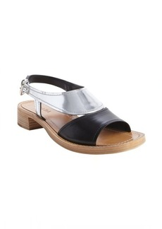 Prada black and silver and tan open toe sandals
