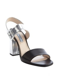 Prada black and silver leather block heel sandals