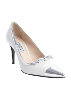 Prada black and silver leather bow tie pumps