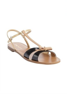 Prada black and tan and gold leather bow tie detail strappy open toe sandals