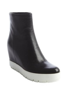 Prada black and white leather hidden wedge heel boots