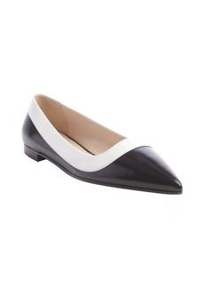Prada black and white point toe flats