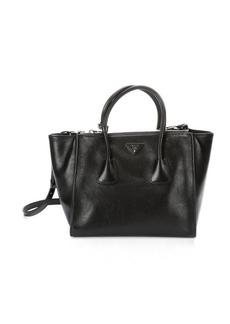 Prada black grained leather twin pocket tote bag