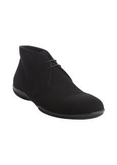 Prada black lace up suede boot